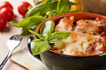 Portion of rustic lasagna