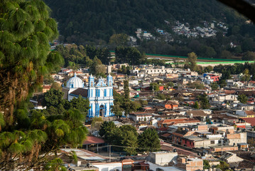 Aerial View of San Cristobal church and town at Chiapas, Mexico.