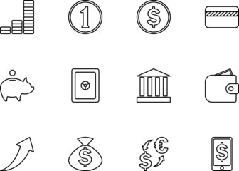 line style money icons set