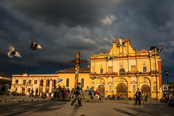 SAN CRISTOBAL DE LAS CASAS, MEXICO - DECEMBER 2,2014 - Cathedral