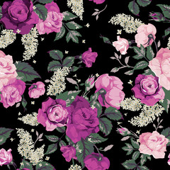 Seamless floral pattern with pink roses on black background, wat