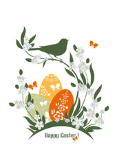 Easter illustration with flowers, eggs and bird