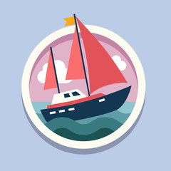 Ship with sails. Travel, flat style vector