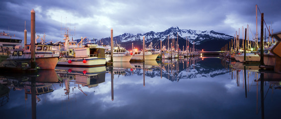 Boats on Smooth Resetrection Bay Seward Alaska Harbor Marina