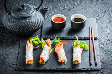 Spring rolls with vegetables and seafood