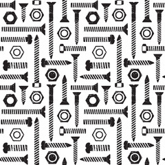 Scratched seamless pattern with screws and nuts 1