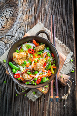 Chinese mix vegetables with chicken with sesame