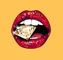 Bright lips holding a sparkling brilliant. Orange.