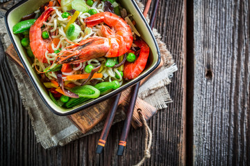 Closeup of chinese mix vegetables with prawns