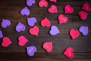 Hearts lie on a table