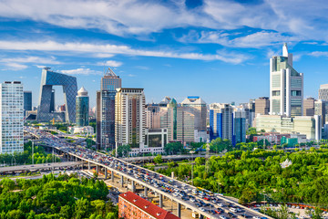 Spoed Foto op Canvas Beijing Beijing, China CBD Cityscape