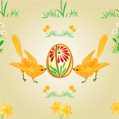 Seamless texture birds and easter eggs vector