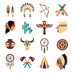 Ethnic american indigenous icons set