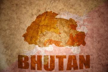 bhutan vintage map