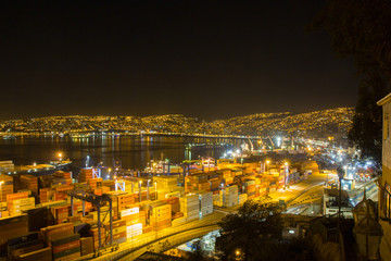 Chile - Valparaiso view at night