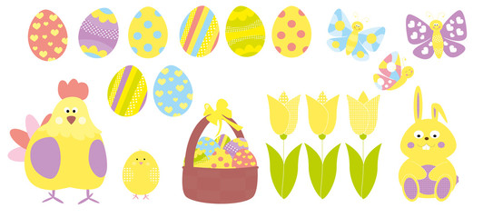 Easter set with hen, eggs, backet