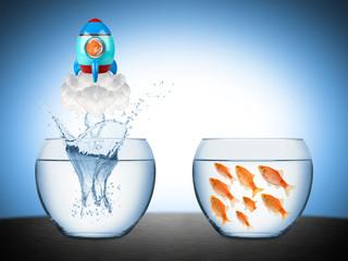 fish rocket creativity concept Wall mural