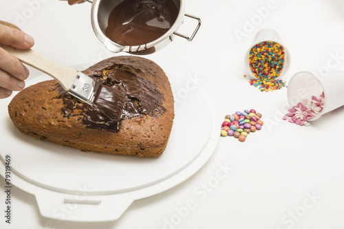 Kuchen Lasieren Mit Schokolade Dekorieren Stockfotos Und