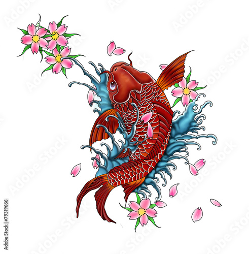 Koi Fish Tattoo Design Japanese Style Stock Photo And Royalty Free