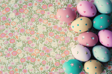 Hand-painted Easter Eggs with vintage background