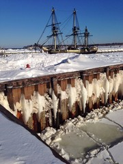 ship in snow
