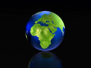Globe on black