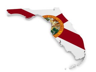 Geographic border map and flag of Florida, The Sunshine State