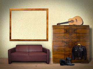Interior with Guitar and Empty Frame for Mock Up