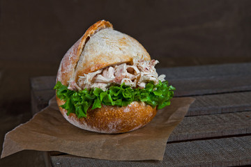 Fried chicken sandwich with sourdough bread.