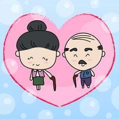 Elderly couple of lover Vector illustration