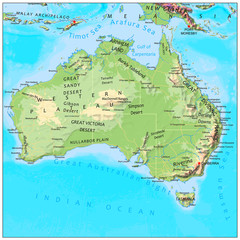 Australia physical continent map