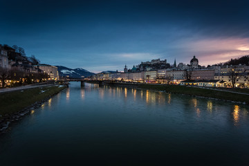 view from bridge on sunset over Salzburg, Austria