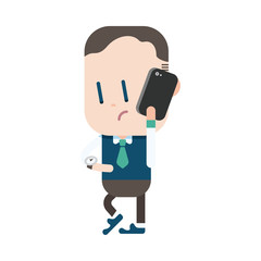 Character illustration design. Businessman using cell phone cart