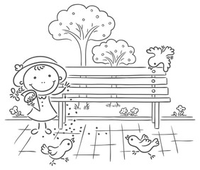 Girl feeding sparrows in the park