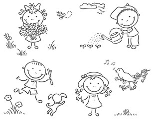 Kids outdoors in spring