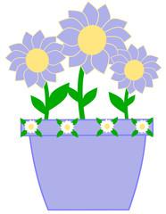 Cute violet vase with beautiful violet flowers