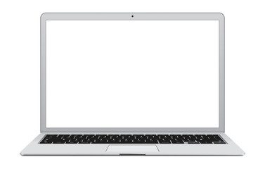 Vector illustration of thin Laptop with blank screen.