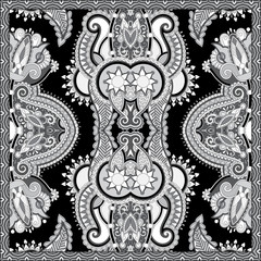 black and white ornamental floral paisley bandanna