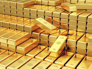 Stack of Golden Bars in the Bank Vault Abstract Background