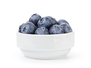 fresh ripe blueberries in white bowl