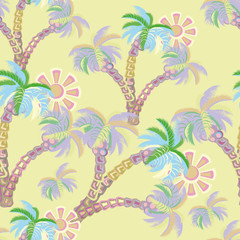 seamless pattern. palm trees with the sun. gentle colors