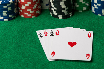 four of a kind poker hand Aces