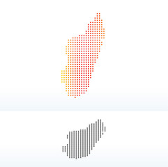 Map of Madagascar with Dot Pattern