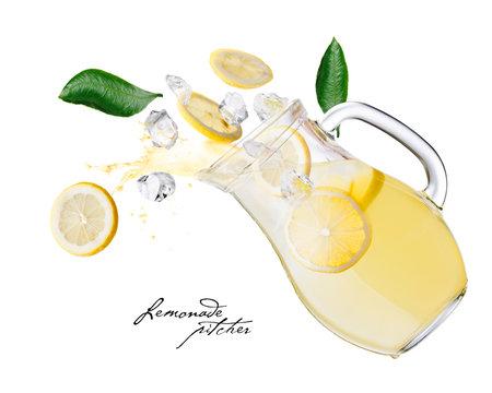 Lemonade pitcher splashes