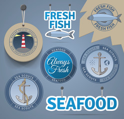Sea related badges and labels. EPS10.