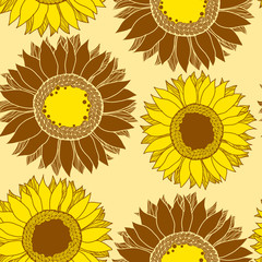 Seamless pattern with gold sunflowers