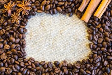 Coffee grains on sackcloth