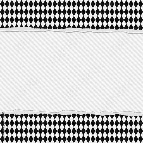 Black And White Checkered Frame With Torn Background Stock Photo