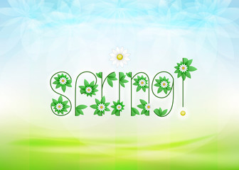 spring text message with green leaves and daisy blossoms