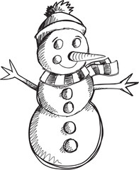 Doodle Sketch Snowman Vector Illustration Art